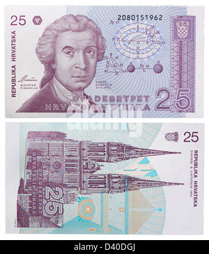 25 Dinara banknote, Ruder Josip Boskovic and Zagreb cathedral, Croatia, 1991 - Stock Photo