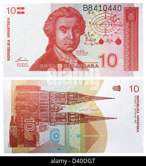 10 Dinara banknote, Ruder Josip Boskovic and Zagreb cathedral, Croatia, 1991 - Stock Photo