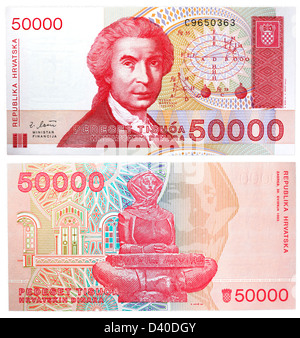 50000 Dinara banknote, Ruder Josip Boskovic and statue of Mother Croatia, Croatia, 1993 - Stock Photo