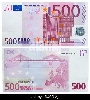500 Euro banknote, Modern architecture and bridge, 2002 - Stock Photo