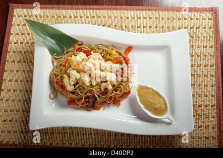 udon noodles with beef tendon stew.Japanese cuisine - Stock Photo
