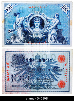 100 Mark banknote, Germany, 1908 - Stock Photo