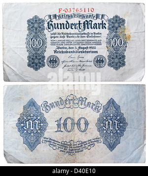 100 Mark banknote, Germany, 1922 - Stock Photo