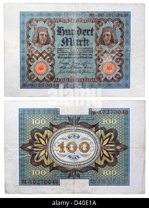 100 Mark banknote, Germany, 1920 - Stock Photo