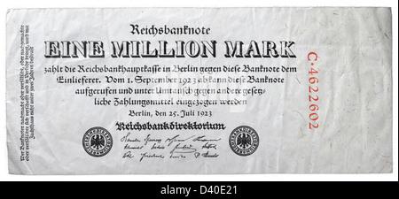 1 Million Mark banknote, Germany, 1923 - Stock Photo