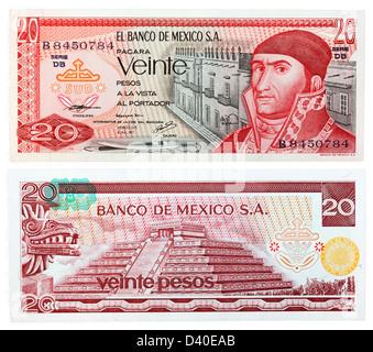 20 Pesos banknote, Jose Morelos y Pavon and Pyramid of Quetzalcoatl, Mexico, 1977 - Stock Photo