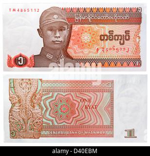 1 Kyat banknote, General Aung San, Myanmar, 1990 - Stock Photo
