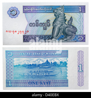 1 Kyat banknote, Mythical animal Chinze and canoes, Myanmar, 1996 - Stock Photo