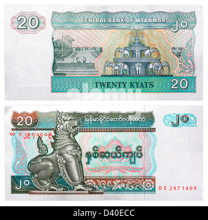 20 Kyats banknote, Mythical animal Chinze and elephant fountain, Myanmar, 1994 - Stock Photo