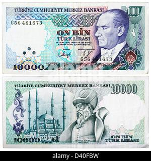 10000 Lira banknote, President Kamel Ataturk and Selimiye Mosque in Edirne, architect Mimar Sinan, Turkey, 1982 - Stock Photo