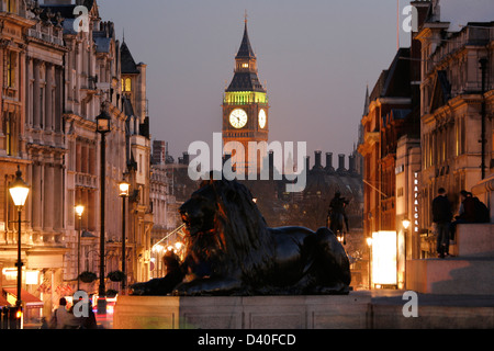 Big Ben, people present, seen from Trafalgar Square, at Dawn - Stock Photo