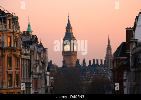 Big Ben, seen from Trafalgar Square, at Dawn - Stock Photo