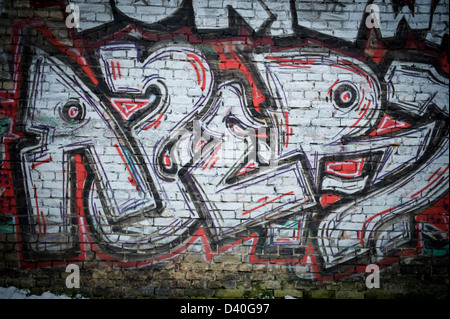 ... A graffiti spray painted brick wall using red black and white paint - Stock Photo & Wall black red spray paint street art graffiti Stock Photo: 6710328 ...