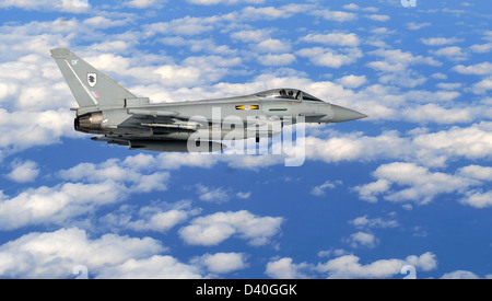 A Royal Air Force Eurofighter Typhoon aircraft, races through the air during Razor Talon at Seymour Johnson AFB, - Stock Photo