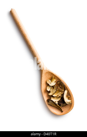dried mushrooms in wooden spoon on white background - Stock Photo