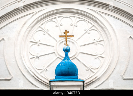 Details of top part of Bogolubovo monastery including blue small and big domes (monastery is dating from 1866). - Stock Photo