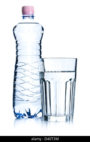 the glasses of water and plastic bottle - Stock Photo