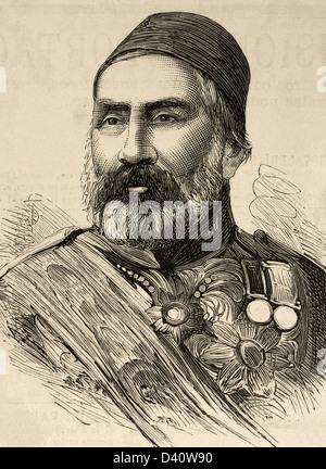 Abdulkerim Nadir Pasha (1809-1883). Turkish military. Engraving in The Spanish and American Illustration, 1877 - Stock Photo
