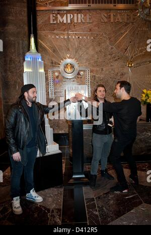 Manhattan, New York, U.S. Feb. 28, 2013. Swedish House Mafia, STEVE ANGELLO, AXWELL and SEBASTIAN INGROSSO, lights - Stock Photo
