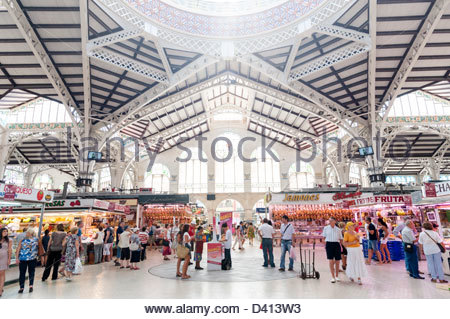 Inside the Central Market, Valencia, Spain - Stock Photo