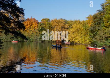 Lake in Tiergarten in autumn, Berlin Center Berlin, Germany - Stock Photo