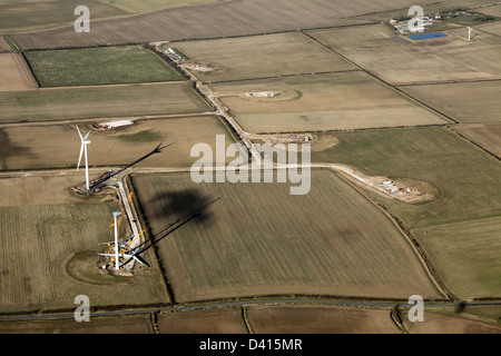 aerial view of a rural wind farm under construction near Withernwick, East Yorkshire - Stock Photo