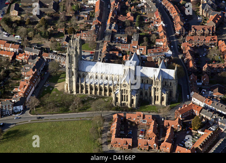 aerial view of Beverley MInster in East Yorkshire - Stock Photo