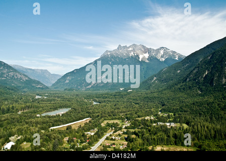 An aerial view looking west into the Bella Coola Valley, above Hagensborg, located in the Great Bear Rainforest, - Stock Photo