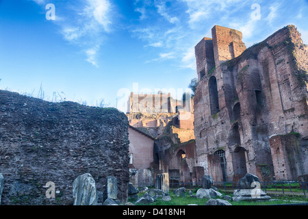 Details of remains and ruins in Ancient Rome Italy showing Capanne del Palatino - Stock Photo