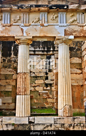 The Treasury of the Athenians at  ancient Delphi, the 'navel'  of the ancient world, Fokida, Central Greece. - Stock Photo