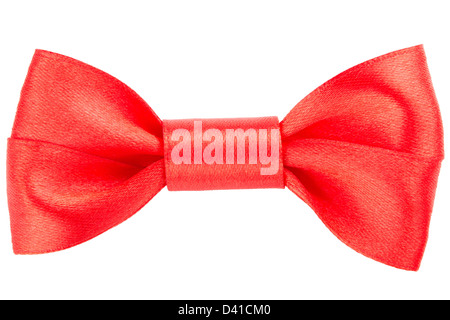 Red bow isolated on a white background - Stock Photo