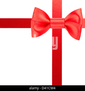 Red bow and ribbons isolated on white background - Stock Photo