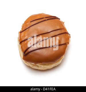 Iced donut isolated on a white studio background. - Stock Photo