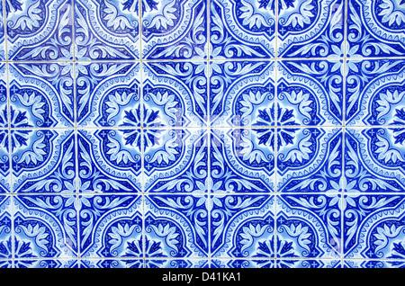 Portuguese blue tiles close-up - Stock Photo