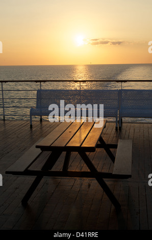 Sunset from the decks of a ferry in the English Channel - Stock Photo