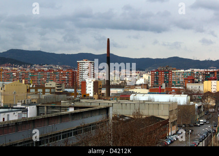 View of Poblenou, 22@ district, Barcelona, Catalonia, Spain - Stock Photo