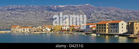 Town of Vinjerac in front of Paklenica National park, Dalmatia, Croatia - panoramic view - Stock Photo