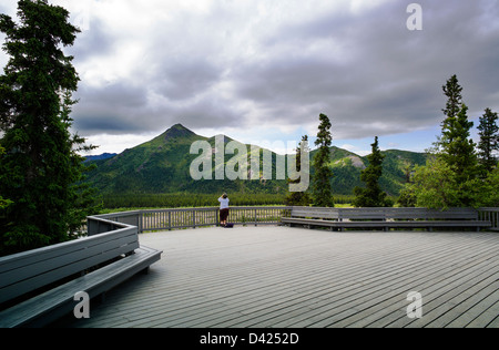 Park visitors looking out over the Savage River, Primrose Rest Area, Denali National Park, Alaska, USA - Stock Photo
