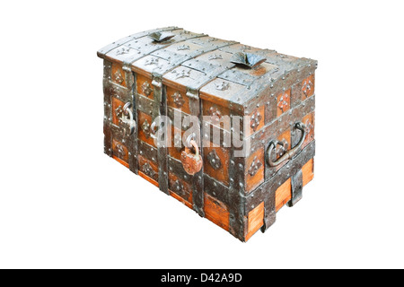 Vintage wooden chest isolated on white background - Stock Photo