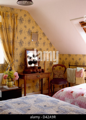 Pastel Yellow Curtains In Traditional Country Bedroom With
