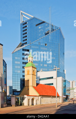 Old and new building in Tallinn, Estonia - Stock Photo