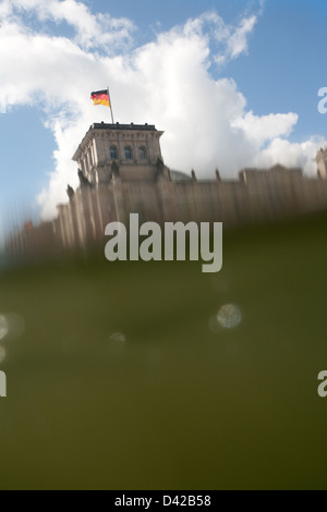 Berlin, Germany, the waves of the river Spree in the Reichstag - Stock Photo