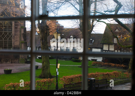 View from the Prince Rupert Hotel Shrewsbury Shropshire UK - Stock Photo