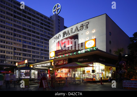 Berlin, Germany, the center of the Zoo and the Zoo Palast at night - Stock Photo
