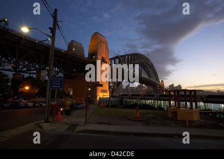 Sydney, Australia, overlooking the Sydney Harbour Bridge at night - Stock Photo