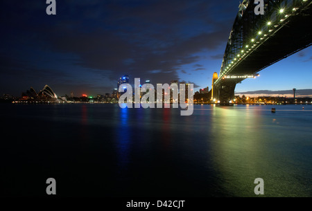 Sydney, Australia, a view over the bay of Port Jackson at night - Stock Photo