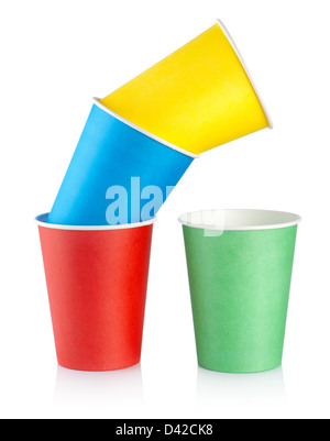 Disposable cups isolated on a white background - Stock Photo