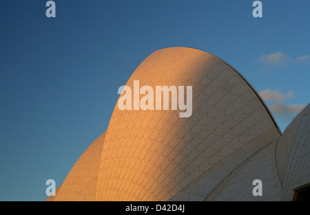 Sydney, Australia, Opera House by Joern Utzon in the last sunlight - Stock Photo
