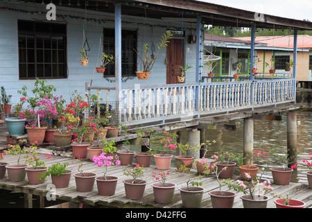 Brunei, Bandar Seri Begawan, Kampong Ayer, water village, - Stock Photo