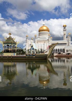 Brunei, Bandar Seri Begawan, Omar Ali Saifuddien, Mosque, - Stock Photo